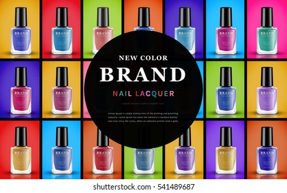 various colors of nail lacquers, contained in transparent bottles with separated colorful backgrounds in 3d illustration