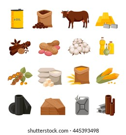 Various commodities flat icons set with food products and materials on white background isolated vector illustration