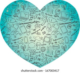 Various communication internet and web icons in heart shape