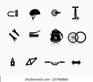 Various components and accessories for the bike. A set of accessories for the modern bicycle.