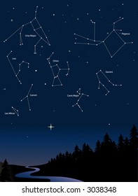 various constellations in a starry night sky