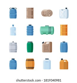 Various containers liquid set. Wooden barrels for storing wine production iron barrels storing gasoline oil green canister blue dense plastic bottles large volumes drinking water. Vector style.
