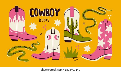 Various cowboy boots. Different ornaments. Wild West Clipart icons. Rattlesnake viper, stars, cactus, grass. Hand drawn colored Vector set. All elements are isolated