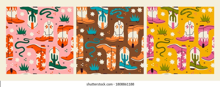 Various cowboy boots. Different ornaments. Wild West fashion style. Rattlesnake viper, stars, cactus, grass. Set of three isolated Hand drawn colored Vector seamless Patterns. Backgrounds, wallpapers