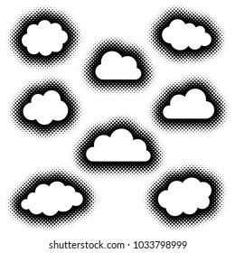 Various creative clouds icons collection vector halftone style