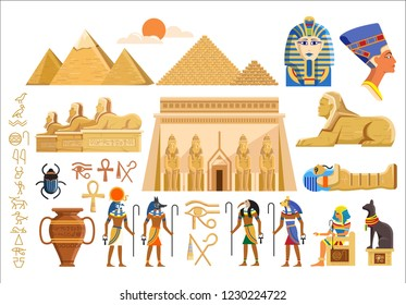 Various cultural symbols of Egyptian architecture and signs on white background. Cartoon Egyptian architecture isolated.