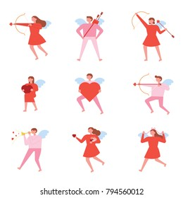 Various cupid characters shooting arrows of love. vector illustration flat design