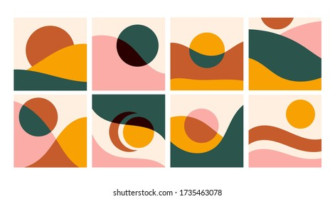 Various curves and shapes, circles. Colorful abstract patterns. Backgrounds, wallpapers, templates. Hand drawn Vector set. Trendy illustration. Every pattern is isolated. Perfect for prints