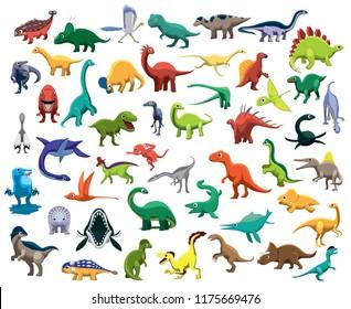 Various Cute Colorful Dinosaur Characters Cartoon Vector