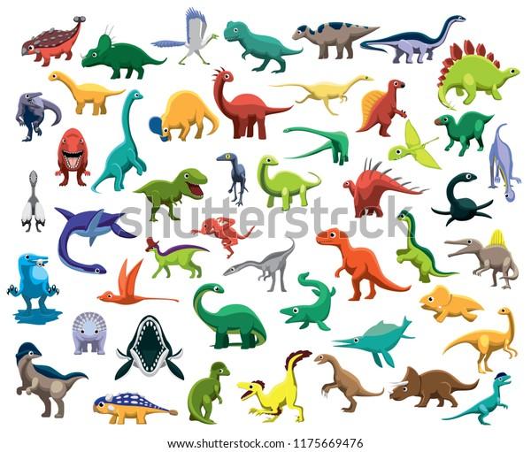 Vector De Stock Libre De Regalias Sobre Vector De Dibujos Animados De Diversos1175669476 Imágenes animadas de dinosaurios en la categoría de animales terrestres. https www shutterstock com es image vector various cute colorful dinosaur characters cartoon 1175669476