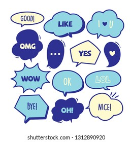 Various Cute speech bubble doodle stickers set with some blue colors - stock vector
