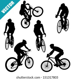 Various cycling poses of cyclists silhouettes on white background, vector illustration
