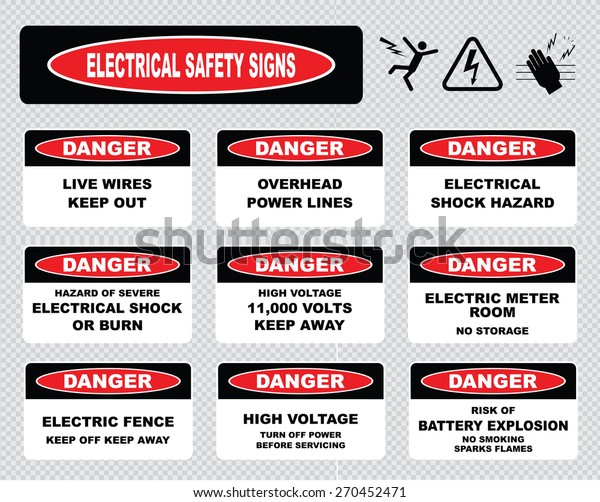 Various Danger Sign Electrical Safety Signs Stock ... on