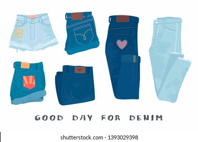 Various denim jean clothes. Shorts, skirt, jeans pants. Hand drawn vector set. Colored trendy fashion illustration. Stamp texture. All elements are isolated