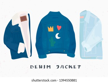 Various denim jean jackets. Hand drawn vector set. Colored trendy fashion illustration. Stamp texture. All elements are isolated