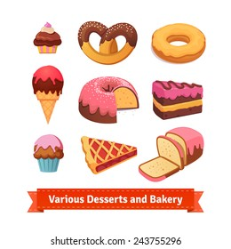 Various desserts and bakery. Cupcakes, pretzel, donut, cake, pie, ice cream, sweet bread. Flat style illustration.