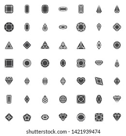 Various diamond shapes vector icons set, modern solid symbol collection, filled style pictogram pack. Signs logo illustration. Set includes icons as heart shaped diamond, gemstone, precious brilliant