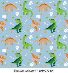 Various Dinosaurs on Blue Background Seamless Pattern Flat Vector Illustration