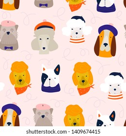 Various dog breeds. French dogs. Different cute funny characters. Hand drawn vector seamless pattern. Colored trendy illustration. Flat design. Pink background