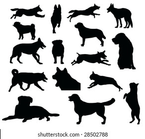 various dog silhouettes - vector illustration
