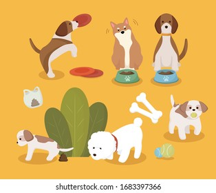 various dog and toy illustration set. animal, puppy, adorable, pet. Vector drawing. Hand drawn style.