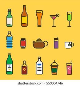 Various drink beverage icons vector illustration flat design