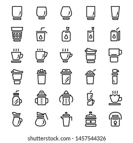 Various drink glass line icons, Pixel perfect glasses thin line icons, Set of simple liquid containers line icons, Cartoon line icons set, Vector illustration
