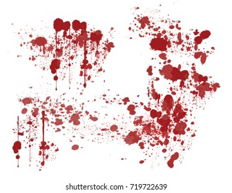various dripping blood splashes,dripping drops and trail blood paint splatters on white background,different dripping blood,Halloween blood vector concept