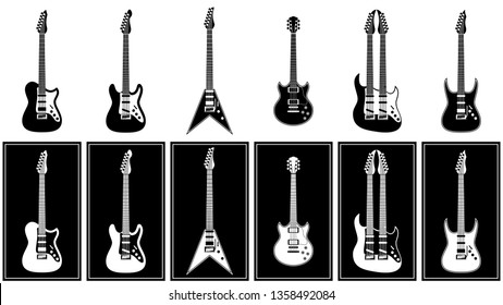 various electric guitars set vector illustration monochrome