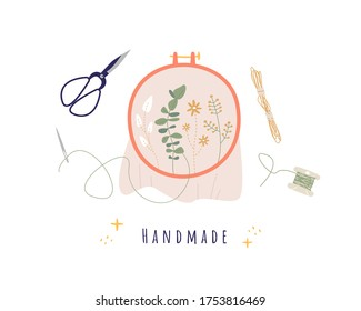 Various embroidery tools. Embroidery hoop, scissors, threads, needle. Trendy vector illustration. Pre-made logo for your design. Isolated on white background. Cartoon style. Nice background.