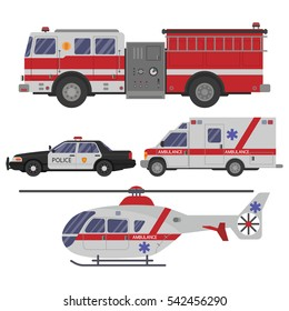 Various emergency vehicles. Ambulance emergency paramedic car, helicopter, police department vehicle and fire engine truck.