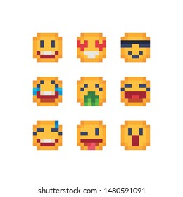various emotions cute faces pixel art icon set. Funny cartoon characters. Smiling emoticons. Mood. Facial expressions. cool, suspicion, laughter, tears, shock and unhappy. Isolated vector illustration