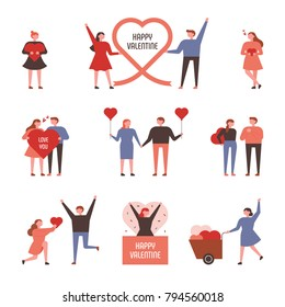 Various events for couples celebrating Valentine's Day. vector illustration flat design