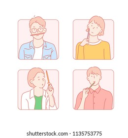 The various expressions holding the pencil. hand drawn style vector design illustrations.