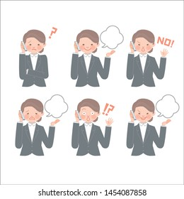 Various expressions of the office worker having a phone call