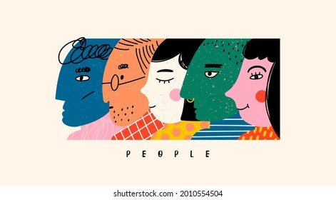 Various faces. Unusual characters in a row. Abstract people portraits. View from side. Collage of different profiles. Hand drawn colored trendy Vector illustration. Poster, print or banner template