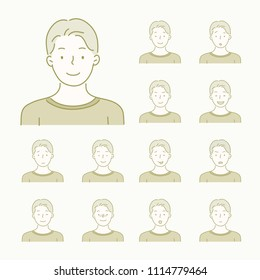 various facial expression emoji icons hand drawn style vector doodle design illustrations.