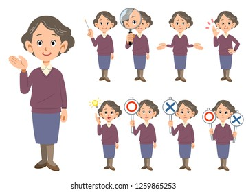 Various facial expressions of elderly women 2 whole body