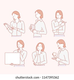 Various facial expressions and poses of business woman. hand drawn style vector design illustrations.