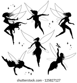 Various fairies in different poses. Black and white vector silhouettes.