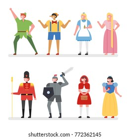 various fairy tale characters vector illustration flat design