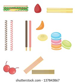 Various fast food fruit and candy dessert sweet such as sandwich macaron and strawberry cherry icon collection set, create by vector