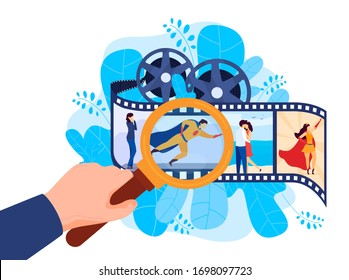 Various films: superhero, romantic movie, action cinema concept, isolated on white, flat vector illustration. Actors play role, review cinematography, hand holding magnifying glass. Web design.