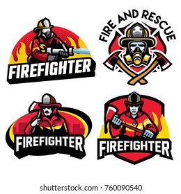 various fire department badge collection in set
