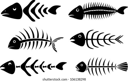 various fish bones stencils vector illustration for web