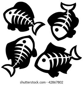 Various fishbones collection - vector illustration.