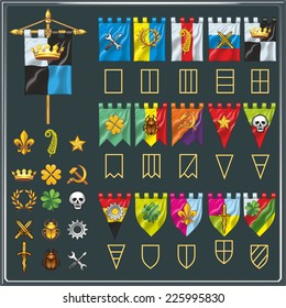 Various flags of the clans in shape, color and symbol.
