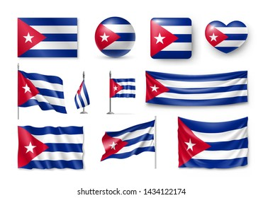 Various flags of Cuba independent country. Realistic waving national flag on pole, table flag and different shapes badges set. Patriotic cuban 3d rendering symbols isolated vector illustration.