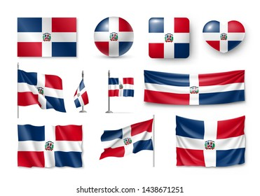 Various flags of Dominican republic caribbean country set. Realistic waving national flag on pole, table flag and different shapes badges. Patriotic symbolics for design isolated vector illustration