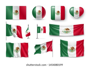 Various flags of Mexico independent country set. Realistic waving national flag on pole, table flag and different shapes badges. Patriotic mexican 3d rendering symbols isolated vector illustration.